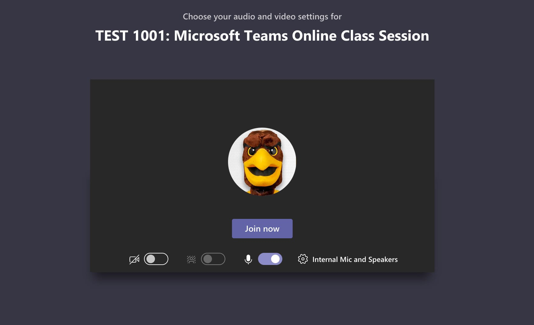 Audio Video settings for Microsoft Teams