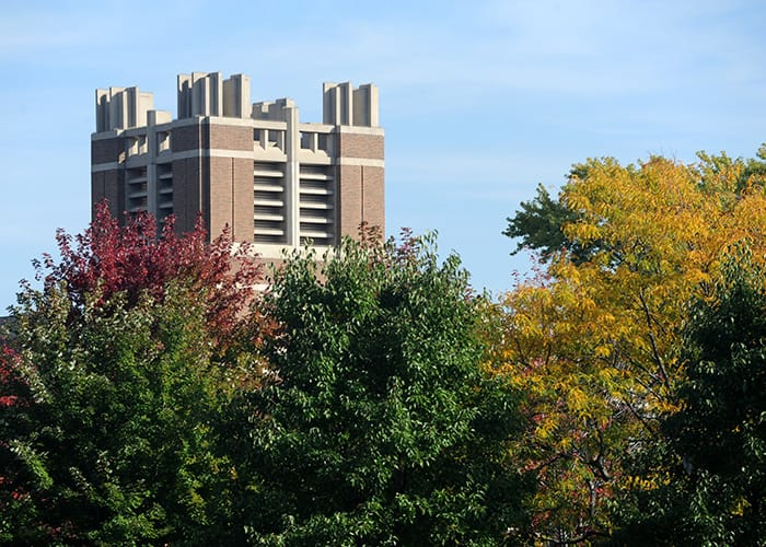Raynor Memorial Library in autumn