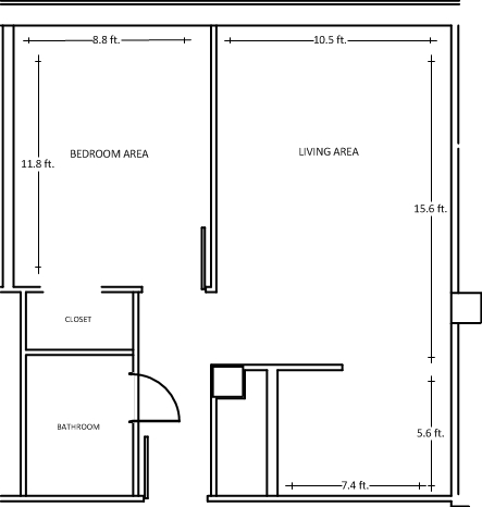 Abbottsford Hall triple room floorplan