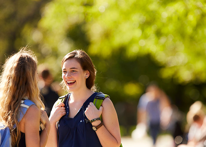 Students on campus outdoors