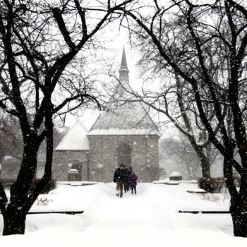 St. Joan of Arc Chapel in the snow