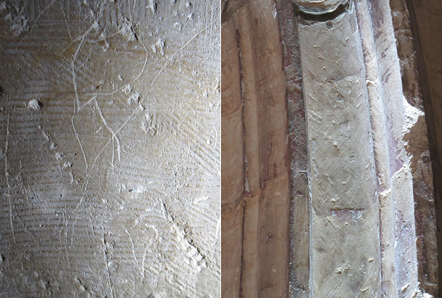 Graffiti depicting the letter R; and scratches which may be from modern tools cleaning up the medieval graffiti