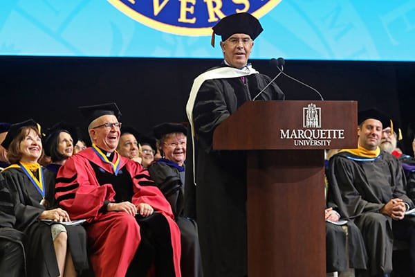 David Brooks addresses Marquette University's Class of 2019