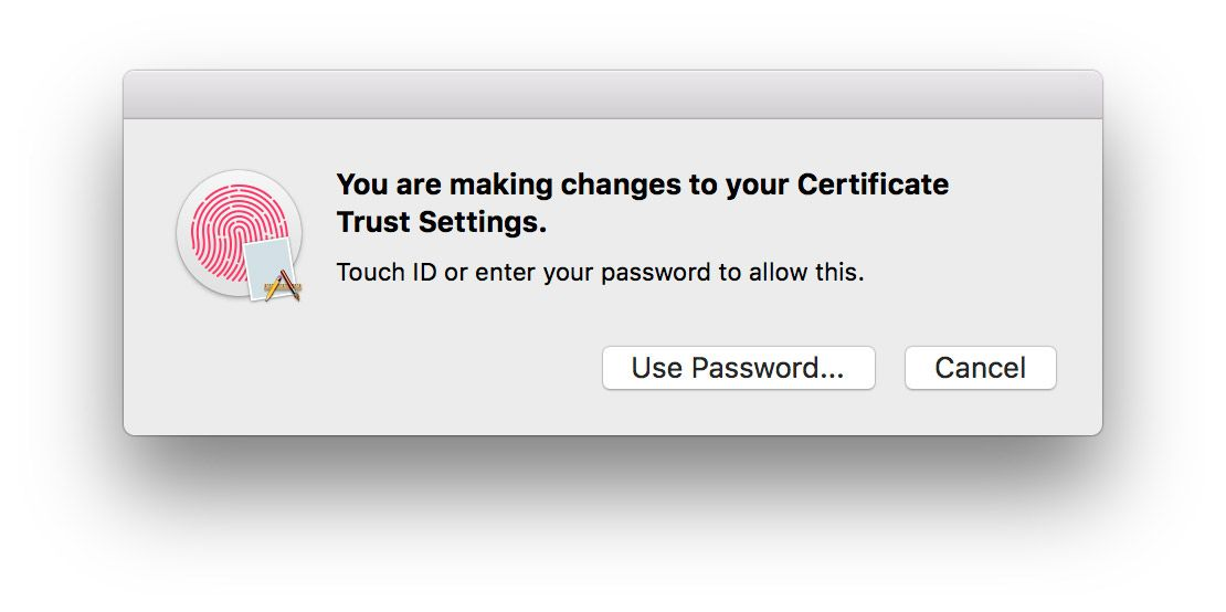Use Touch ID or administrator password to continue.