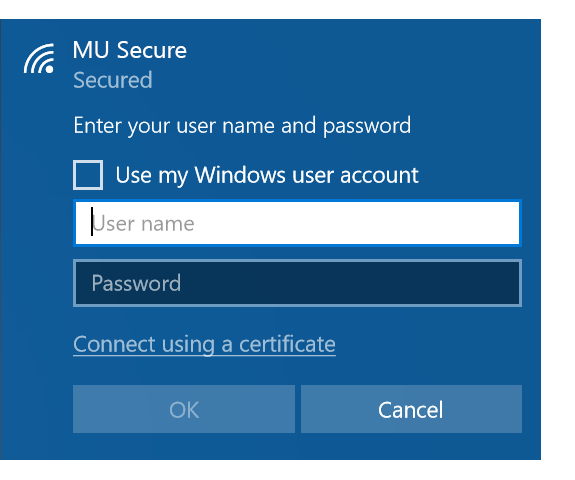 MU Secure login with Marquette username and password