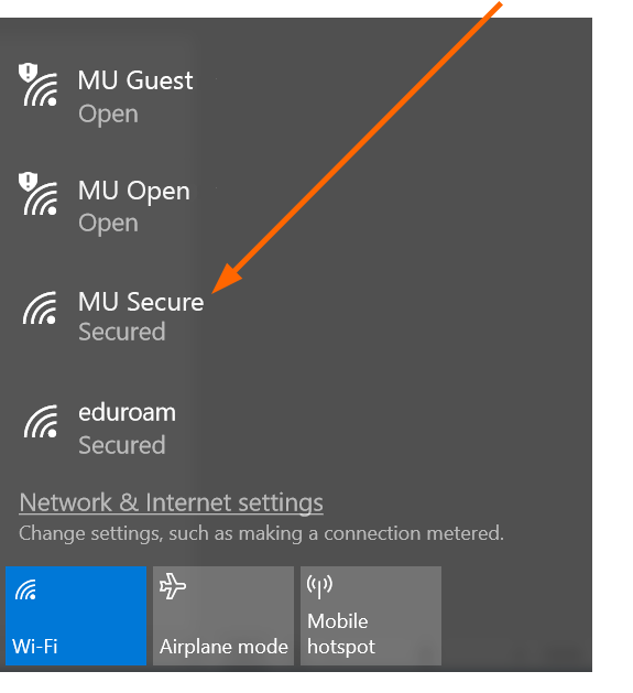MU Secure Wi-Fi identified with an arrow